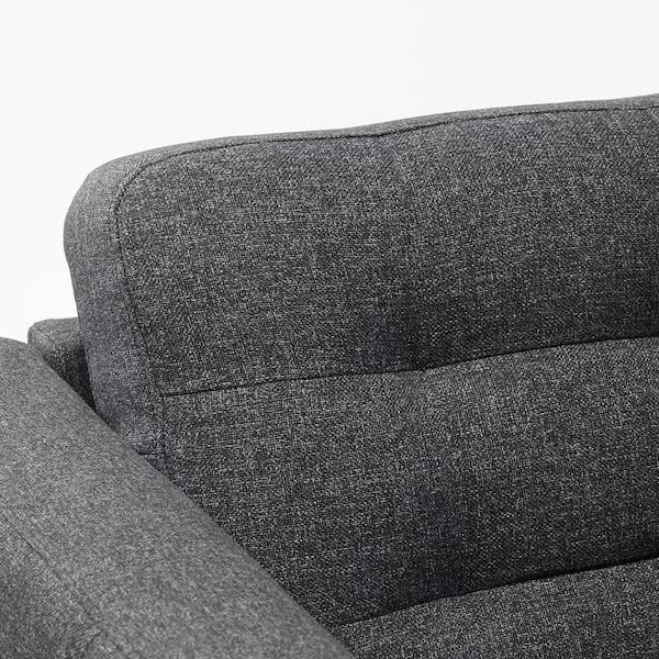 LANDSKRONA Chaise longue, add-on unit, Gunnared dark grey/wood