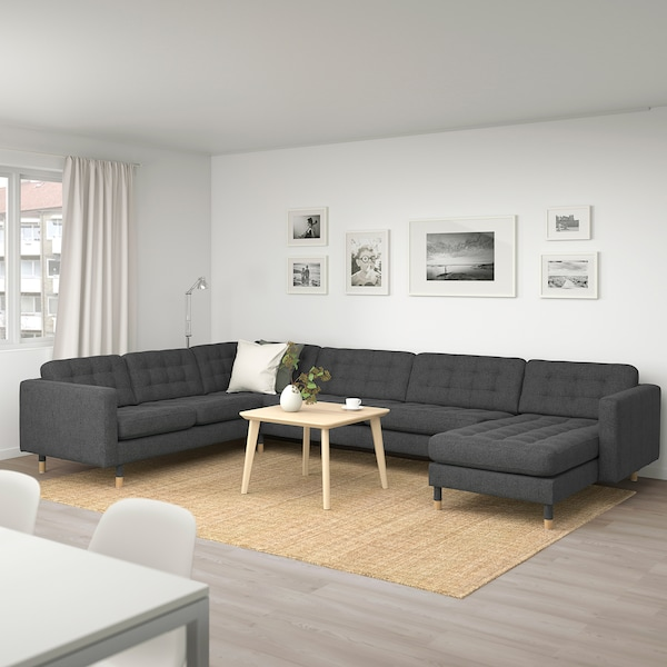 LANDSKRONA Corner sofa, 6-seat, with chaise longue/Gunnared dark grey/wood