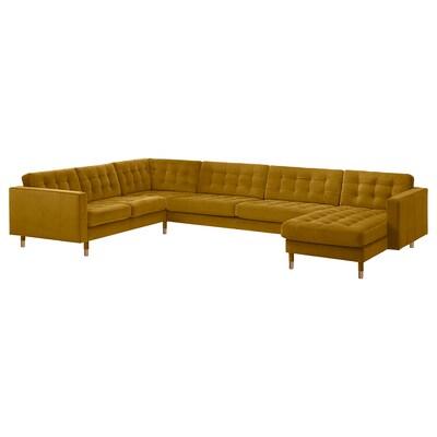 LANDSKRONA Corner sofa, 6-seat, with chaise longue/velvet yellow/wood