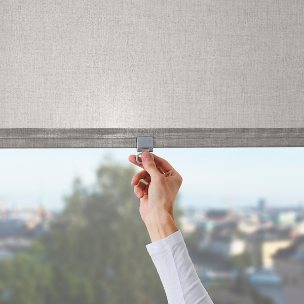 LÅNGDANS Roller blind, grey, 140x195 cm