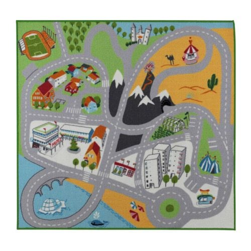 LEKPLATS Rug, low pile   The latex backing keeps the rug in place when the child runs/plays on it.