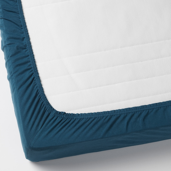 LEN fitted sheet for ext bed, set of 2 dark turquoise