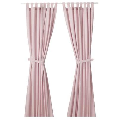 LENDA Curtains with tie-backs, 1 pair, light pink, 140x300 cm
