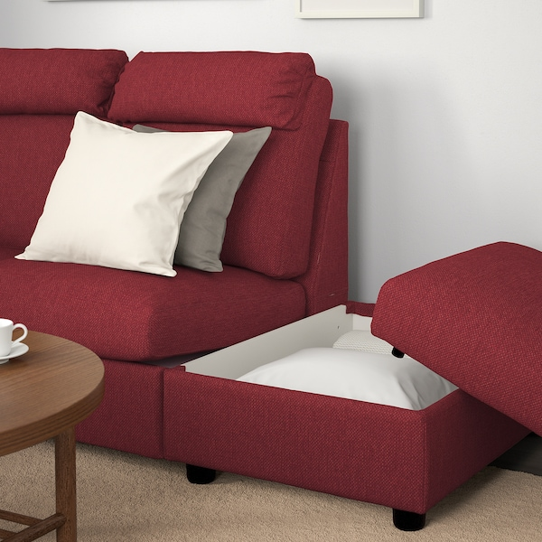 LIDHULT Corner sofa, 5-seat, with open end/Lejde red-brown