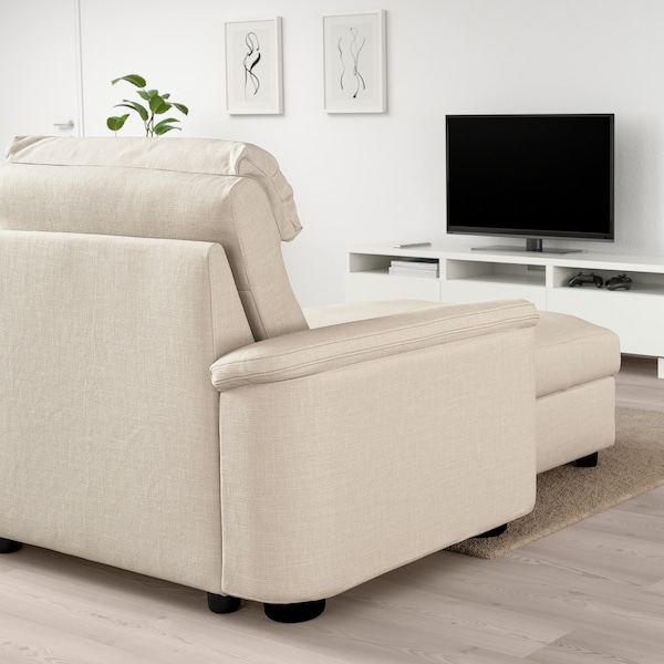 LIDHULT Corner sofa-bed, 6-seat, with chaise longue/Gassebol light beige