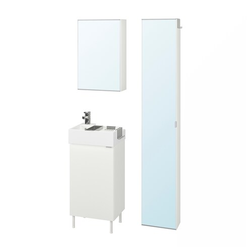 LILLÅNGEN / LILLÅNGEN bathroom furniture, set of 6 white/Ensen tap 41 cm 40 cm 49 cm 89 cm