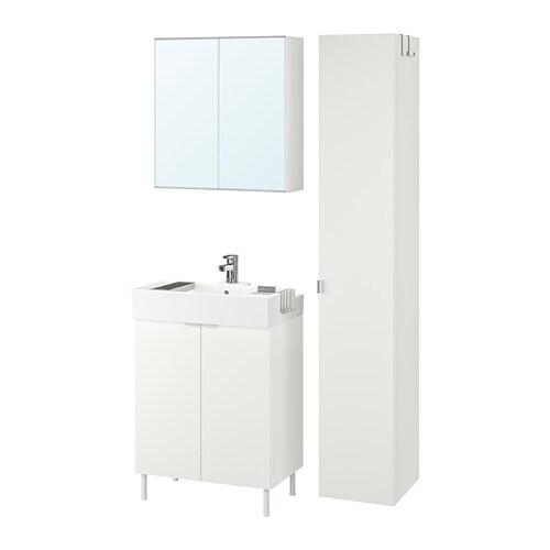 LILLÅNGEN / LILLÅNGEN Bathroom furniture, set of 6, white, Ensen tap