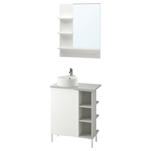 LILLÅNGEN/VISKAN / GUTVIKEN bathroom furniture, set of 8 white/grey Olskär tap 62 cm 40 cm 40 cm 89 cm