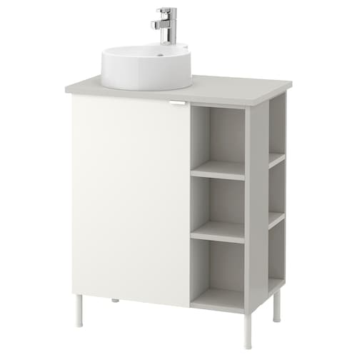 LILLÅNGEN/VISKAN / GUTVIKEN washbasin cab 1 door/2 end units white/grey Ensen tap 62 cm 40 cm 87 cm