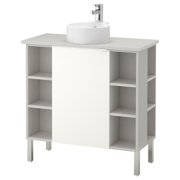 LILLÅNGEN/VISKAN / GUTVIKEN washbasin cab 1 door/4 end unit white/grey Ensen tap 82 cm 40 cm 92 cm