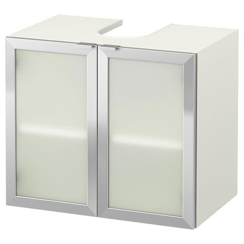 LILLÅNGEN wash-basin base cabinet w 2 doors white/aluminium 60 cm 38 cm 51 cm