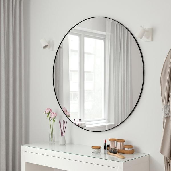 LINDBYN Mirror, black, 110 cm