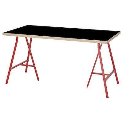 LINNMON / LERBERG Table, black plywood/red, 150x75 cm