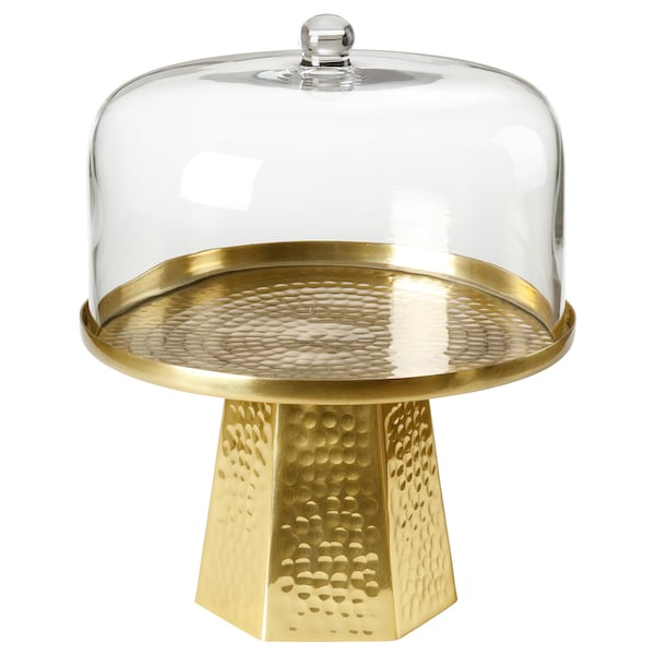 LJUV Cake stand with lid, gold-colour, 22 cm