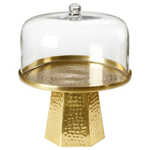 LJUV cake stand with lid gold-colour 34 cm 28 cm