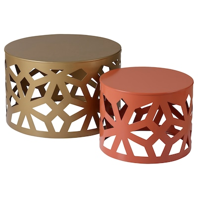 LJUV Nest of tables, set of 2, gold-colour/red