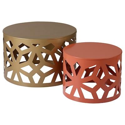 LJUV طاولات متداخلة، طقم من 2., لون ذهبي/أحمر