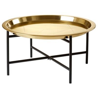 LJUV طاولة بصينية, لون ذهبي/أسود, 65x32 سم