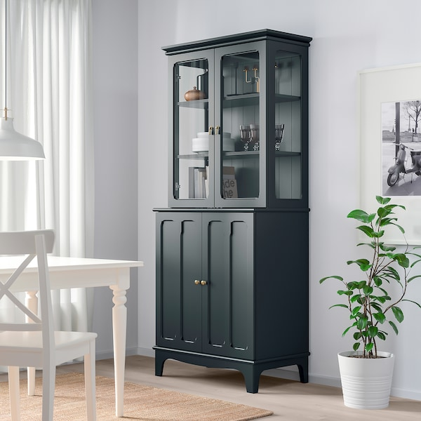 LOMMARP Cabinet with glass doors, dark blue-green, 86x199 cm