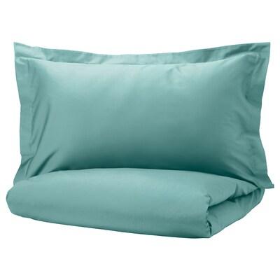 LUKTJASMIN Duvet cover and 2 pillowcases, grey-turquoise, 240x220/50x80 cm