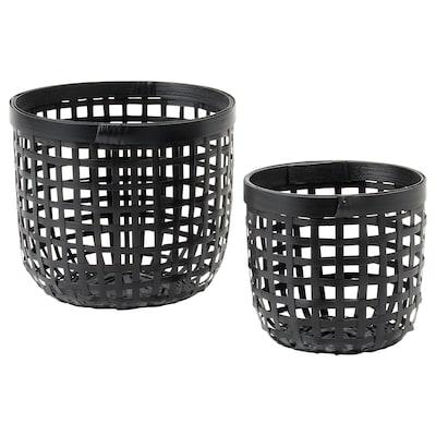 LUSTIGKURRE Basket, set of 2, black bamboo