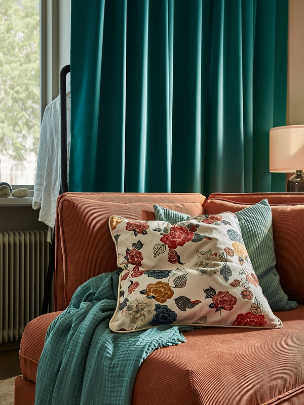 MAJGULL Block-out curtains, 1 pair, dark turquoise, 145x300 cm