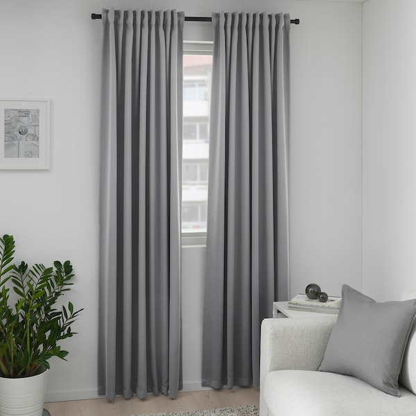 MAJGULL Block-out curtains, 1 pair, grey, 145x300 cm