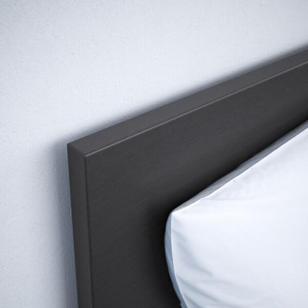 MALM Bed frame, high, w 2 storage boxes, black-brown/Luröy, 180x200 cm