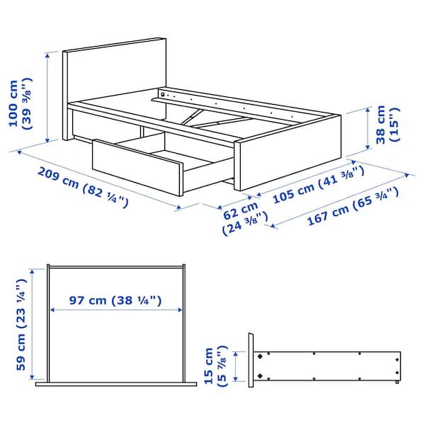 MALM هيكل سرير، عالي، مع صندوقي تخزين, صباغ بني قشرة خشب الدردار/Leirsund, 90x200 سم