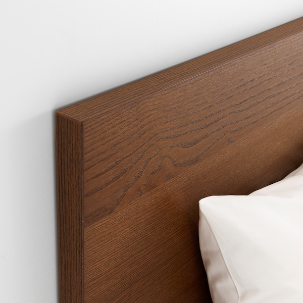 MALM Bed frame, high, w 2 storage boxes, brown stained ash veneer/Luröy, 90x200 cm