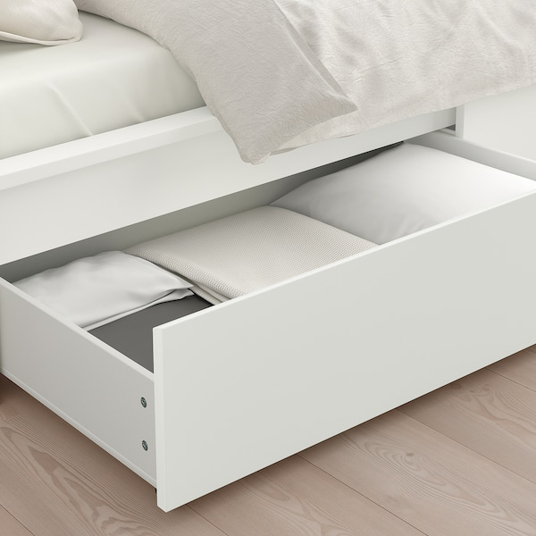 MALM Bed frame, high, w 2 storage boxes, white/Leirsund, 90x200 cm