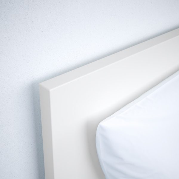 MALM Bed frame, high, w 2 storage boxes, white/Lönset, 90x200 cm