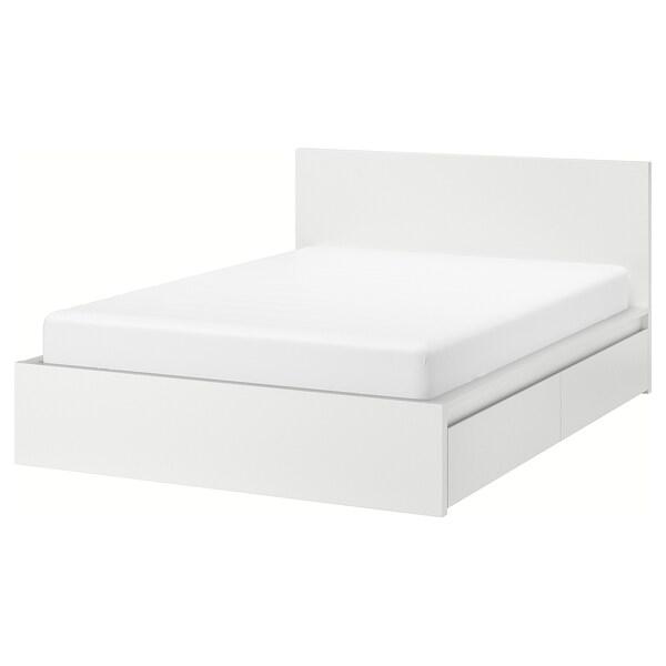 MALM Bed frame, high, w 2 storage boxes, white, 180x200 cm