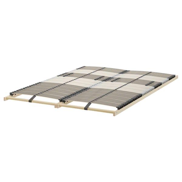 MALM Bed frame, high, w 4 storage boxes, black-brown/Leirsund, 140x200 cm