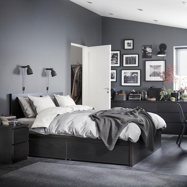 MALM Bed frame, high, w 4 storage boxes, black-brown/Lönset, 140x200 cm