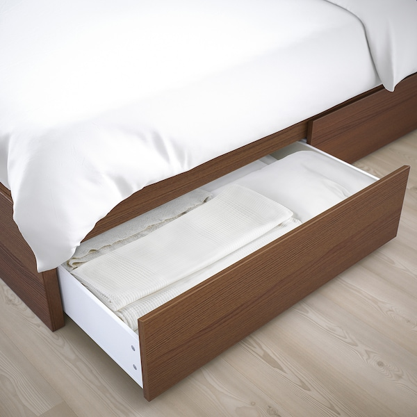 MALM Bed frame, high, w 4 storage boxes, brown stained ash veneer/Luröy, 140x200 cm