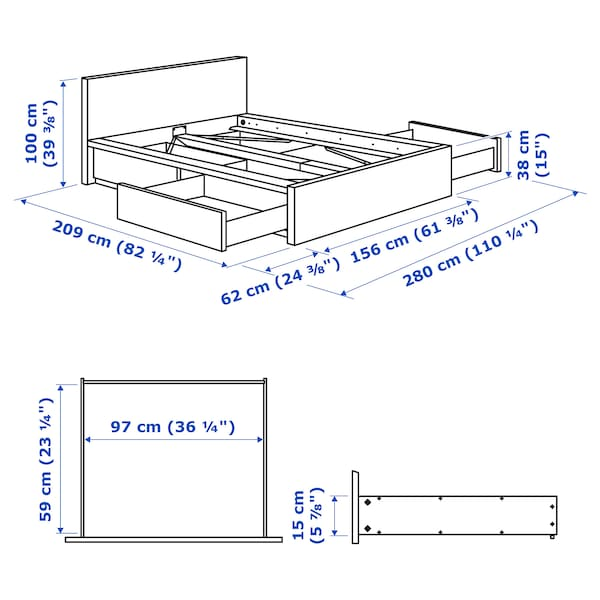 MALM Bed frame, high, w 4 storage boxes, brown stained ash veneer, 140x200 cm