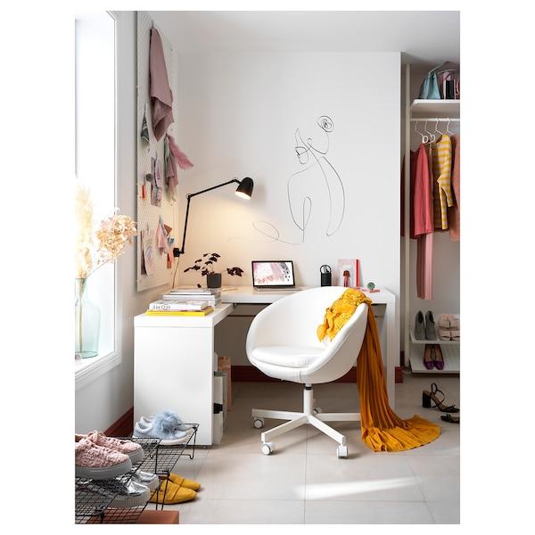 MALM طاولة مع لوحة قابلة للسحب, أبيض, 151x65 سم