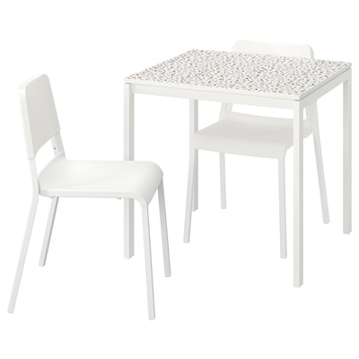 MELLTORP / TEODORES Table and 2 chairs, mosaic patterned white/white, 75x75 cm