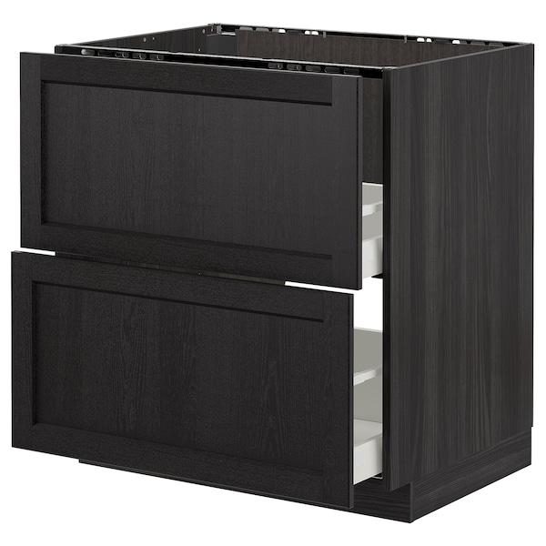 METOD Base cab f sink+2 fronts/2 drawers, black/Lerhyttan black stained, 80x60 cm