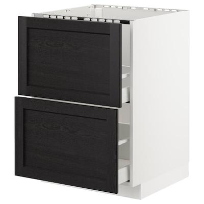 METOD خ. قاعدة لحوض+2 واجهة/2أدراج, أبيض/Lerhyttan صباغ أسود, 60x60 سم