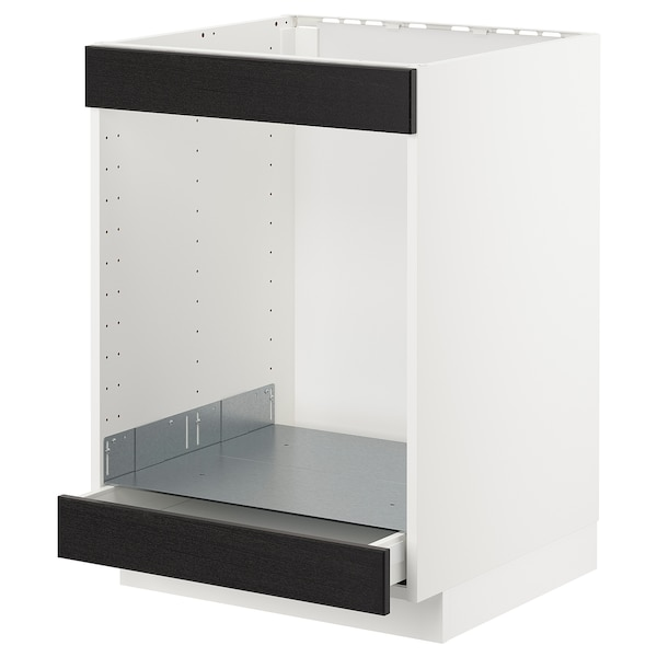 METOD Base cab for hob+oven w drawer, white/Lerhyttan black stained, 60x60 cm