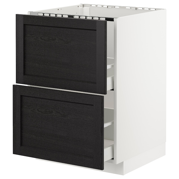 METOD base cab f sink+2 fronts/2 drawers white/Lerhyttan black stained 60.0 cm 61.9 cm 88.0 cm 60.0 cm 80.0 cm