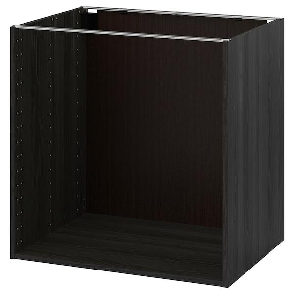 METOD Base cabinet frame, wood effect black, 80x60x80 cm