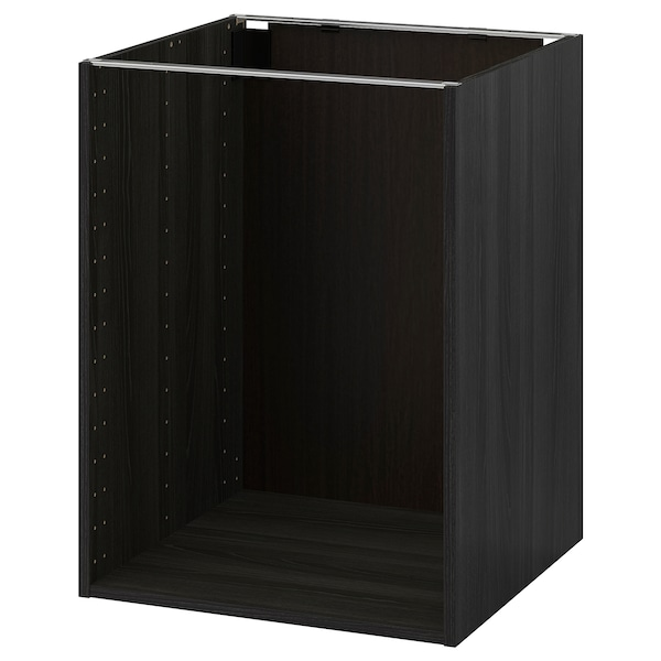 METOD Base cabinet frame, wood effect black, 60x60x80 cm