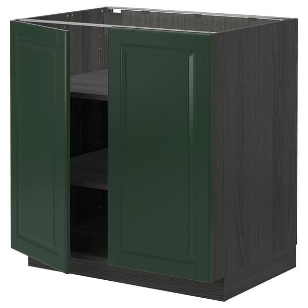 METOD base cabinet with shelves/2 doors black/Bodbyn dark green 80.0 cm 61.9 cm 88.0 cm 60.0 cm 80.0 cm