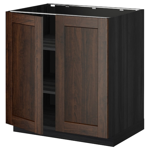 METOD base cabinet with shelves/2 doors black/Edserum brown 80.0 cm 61.8 cm 88.0 cm 60.0 cm 80.0 cm