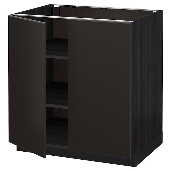 METOD base cabinet with shelves/2 doors black/Kungsbacka anthracite 80.0 cm 61.6 cm 88.0 cm 60.0 cm 80.0 cm