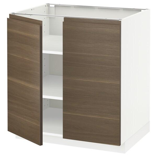 METOD base cabinet with shelves/2 doors white/Voxtorp walnut effect 80.0 cm 62.1 cm 88.0 cm 60.0 cm 80.0 cm