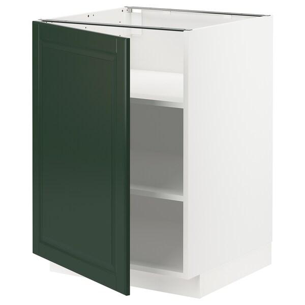 METOD Base cabinet with shelves, white/Bodbyn dark green, 60x60 cm